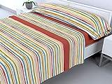 Cabello Textil Hogar - Juego de sábanas térmicas de Pirineo - 3 Piezas - 110 Gr/m2 - Mod. Rayitas (Naranja Oscuro, 150_x_190/200 cm)