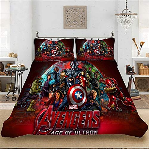 DCWE Marvel The Avengers Endgame Superhero Duvet Cover and Pillowcase Set for Kids and Adults, Microfiber (4.200 x 200 cm)