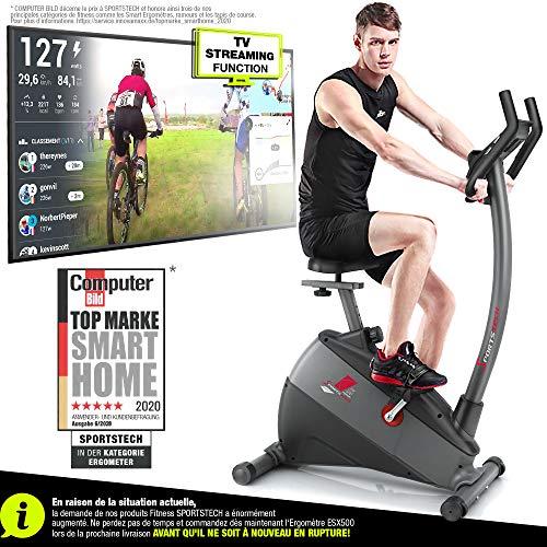 Sportstech Vélo d'Appartement ergomètre ESX500, Vidéos Live et multijoueur APP +...