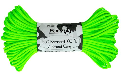 Fury Tactical 550-Pound Type III 7 Strand Core Paracord, 1/8-Inch x 100-Feet, Neon Green