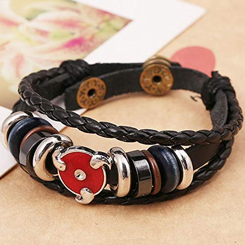 XCWXM Armband Herren Gothic Weben Armband Handgefertigt Ruffy Schlüsselanhänger Charm Punk Vintage Armreifen Perlen Armbänder Schmuck Frauen