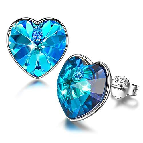 Sellot Corazón Pendientes para Mujer Regalos Personalizados para Ella Cristales de Swarovski Pendientes de Plata de Ley 925 Regalos de Cumpleaños para Mamá con Cajas de Joyería (Circonita Azul)