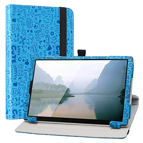 LiuShan Compatible with Lenovo Tab M10 HD Rotating Case,360 Degree Rotation Stand PU With Cute Pattern Cover for 10.1' Lenovo Tab M10 HD (2nd Gen) TB-X306X Tablet(Not Fit Lenovo tab M10 Plus),Blue
