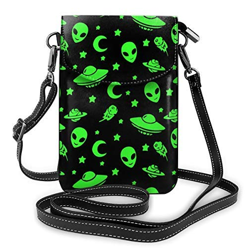 XCNGG bolso del teléfono Premium PU Leather Crossbody Bag Cell Phone Purse, Lightweight Mini smart phone Pouch with Adjustable Shoulder Strap, Green Alien Moon Spaceships Planet Black