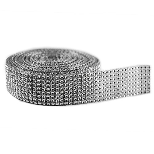"Silver Diamond Sparkling Rhinestone Mesh Ribbon for Event Decorations, Wedding Cake, Birthdays, Baby Shower, Arts & Crafts, 1.5"" x 10 Yards, 8 Row, 1 Roll"