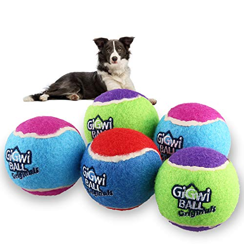 Gigwi Dog Squeaky Tennis Ball - Interactive Dog Toy Ball 2.5 Inches Launcher Compatible -Tennis Balls Bulk Funny Pet Toys for S/M Dogs Outdoor Exercise (5 Pack)