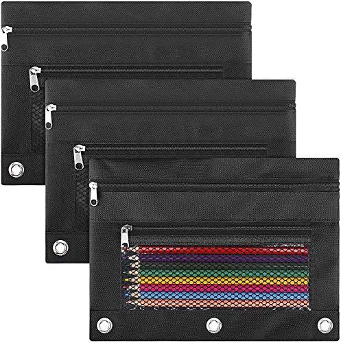 LABUK Pencil Pouch 3 Ring Binder, 3 Pack Black Zipper Pencil Pouch Pencil Case Bag with Double Pocket
