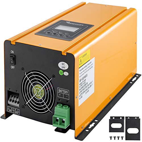OldFe 24V DC Inselwechselrichter 2000W Reine Sinuswelle Inselwechselrichter 4000VA Reine Sinuswelle Wechselrichter mit Steckdose 35A Off-grid inverter