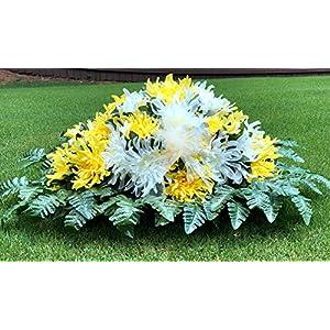 Cemetery Saddle Flowers – Beautiful Yellow Ivory Mum Mix Saddle