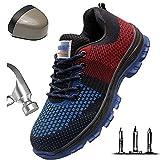 HOAPL Zapatos de Seguridad para Hombres Zapatos con Punta de Acero Zapatillas de Trabajo Ligeras Zapatos Transpirables y cómodos Tejidos de Vuelo de Trabajo Zapatos de Senderismo,37