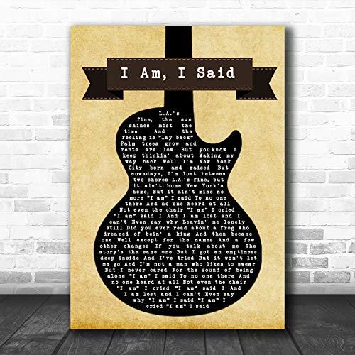 Ik Am, Ik Zei Zwarte Gitaar Song Lyric Quote Muziek Poster Print Large A3