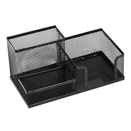 Leviatan Schreibtischorganizer | Stiftehalter Stifteköcher Tisch-Organizer aus Metall | Büroablage mit Zettelhalter Mesh | 205x103x98mm Schwarz