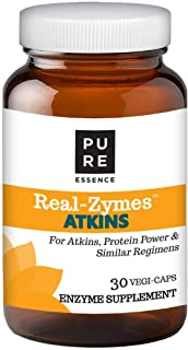 Real-Zymes™ Atkins Digestive Enzymes Supplement with Probiotics for Better Digestion - Natural Support for Relief of Bloating, Gas, Belching, Diarrhea, Constipation, IBS, etc. - 30 Caps