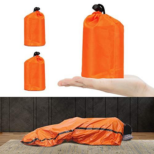 Vegena Notfallzelt, 2 Stück Biwaksack Survival Schlafsack Tragbar Notfall Notfalldecke Rettungsdecken Rettungsfolie Ultraleicht Wasserdicht Kälteschutz Rettungszelt für Freien Camping und Wandern