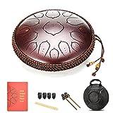 amkoskr 14 pollici 35 cm tamburo in acciaio d major 15 note steel tongue drum strumento a percussione tamburo handpan con bacchette per tamburi borsa per il trasporto(bronzo)