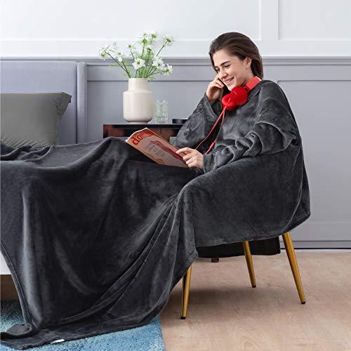 BEDSURE Ärmeldecke Anthrazit Kuscheldecke mit Ärmeln 170x200 cm, Sweatshirt Decke Ärmel zum Anziehen Erwachsene, Ganzkörperdecke mit Ärmel tragbar extra weich als TV Decke