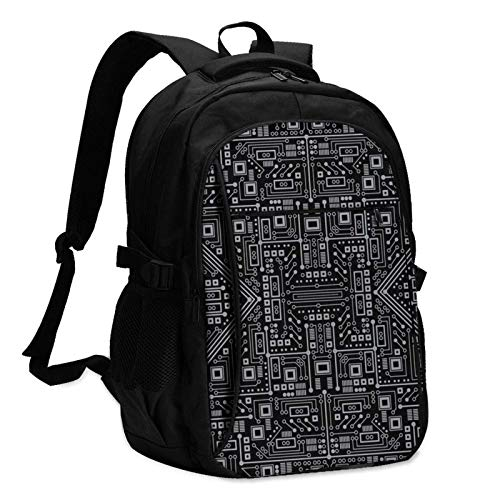 XCNGG Evil Robot Circuit Board Travel Laptop Backpack with USB Charging Port Multifunction Work School Bag