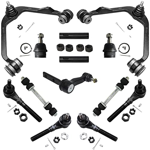 Detroit Axle - 4WD Front Upper Control Arms + Lower Ball Joints + Tie Rods +...