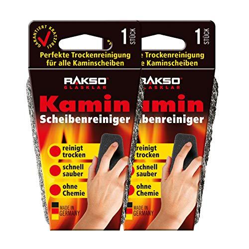 RAKSO Glas-Reiniger für Kamin-Scheiben Ofenglasreiniger Schwamm Kaminreiniger Kamin-Ofen und Kaminscheibenreiniger 2x1St