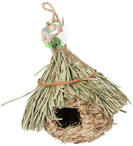 Lifetime Garden Nichoir à oiseaux à suspendre en paille et roseau