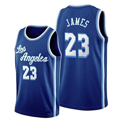 Dybory Neue Herren Basketball Trikots, NBA Los Angeles Lakers # 23 Lebron James Retro Swingman Edition Mesh Trikot Sportweste Top Ärmelloses T-Shirt,Blau,M