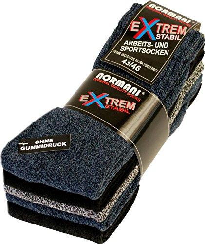 normani 10 Paar EXTREM Stabile Arbeitssocken Socken - Ferse & Spitze EXTRA verstärkt - ohne gummidruck ! Farbe Farbig-gemischt Größe 43-46