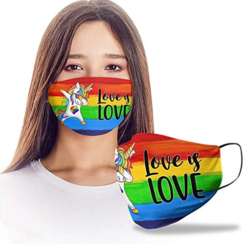 Love is Love Unicorn Flag LGBT Gay Lesbian Design Print Cloth Reusable Washable Face Mask Women Men for Dust Protection Funny Print Face Mask - Washable, Reusable Cloth Masks