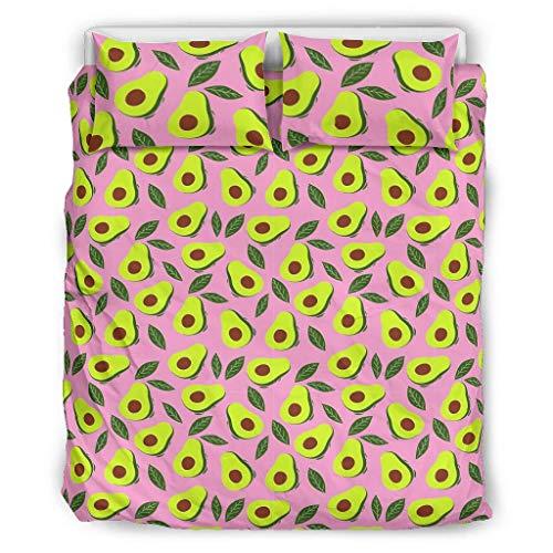 O1FHW-8 Avocado Pink Tagesdecken Tröster Set Retro 3-teilig Bettbezüge - Grün Soft & Comfort Boho Bettwäscheset White 264x229cm