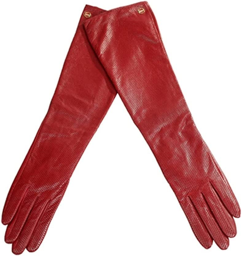 Kioiien Women Winter Warm Leather Gloves New Ladies Fashion Long Sheepskin Gloves Windproof Driving Touch Screen Mitten Texting Typing Motorcycling Driving Gloves