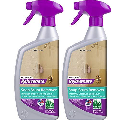 Rejuvenate Scrub Free Soap Scum Remover Shower Glass Door Cleaner Works on Ceramic Tile, Chrome, Plastic and More (2 Bottles x 24oz)