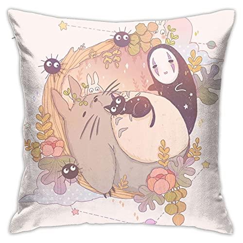 Dxddsdks Funda de cojín con diseño de Totoro de dibujos animados, funda de almohada con impresión 3D, decoración suave y cómoda, sofá o silla