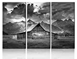 Wall Art Panels Large for Living Room Cabin Decorations Rustic Paintings Mormon Row Black and White Pictures 3 Panel Canvas Modern Artwork for Living Room Framed Stretched Ready to Hang(28''x42'')