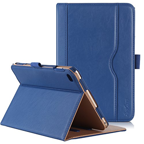Procase iPad Mini 4 Case - Leather Stand Folio Case Cover for 2015 Apple iPad Mini 4 (4th Generation iPad Mini, mini4), with Multiple Viewing Angles, auto Sleep/Wake, Document Card Pocket (Navy Blue)