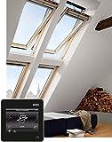 VELUX Group VELUX Dachfenster GGL 307021 Holz INTEGRA Elektrofenster klar lackiert THERMO Aluminium SK06 (114 x 118 cm)
