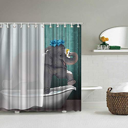 ArtBones Elefant Duschvorhang 183 x 183 cm afrikanischer Elefant mit Bad Malerei Duschvorhang mit 12 Haken Kinderbadezimmer Dekor Badvorhang