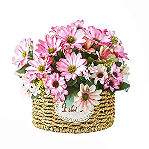 NEW RUICHENG Artificial Flowers Chrysanthemum Flower Silk Bouquet Handmade Basket with Vase Mini Artificial Plant Wedding Arrangement Small Realistic Artificial Plastic Flower Home Office Art Decor