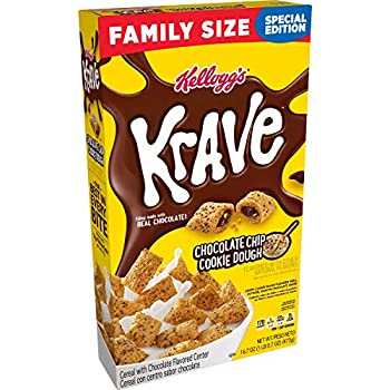 Kellogg s Krave Breakfast Cereal Chocolate Chip Cookie Dough Family Size 16.7oz Box