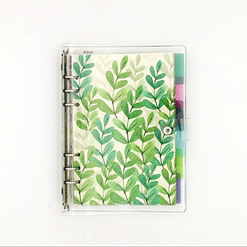 A5 6-Ring Loose Leaf Binder Journal w/80 Insert Pages(Dot Grid/Square Grid/Ruled/Blank) + 6 Index Divider Tabs + 1 Clear Page Maker + 1 Ziplock Pouch Included, Refillable