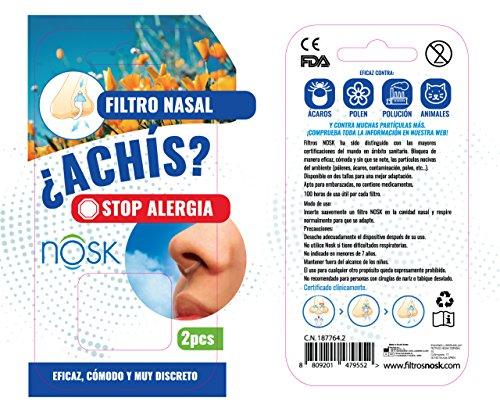 Nosk - Filtro Nasal 2 Unidades TALLA PEQUEÑA - Bloquea al instante los síntomas de la alergia, el asma y la contaminación