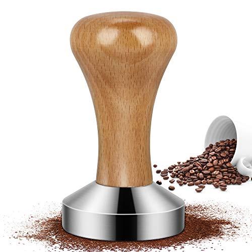 Venga amigos Kaffee Tamper Kaffeemehlpresser Espresso Tamper Set aus Edelstahl mit Echtholzgriff für perfekten Espresso Barista-Werkzeug(51 mm)