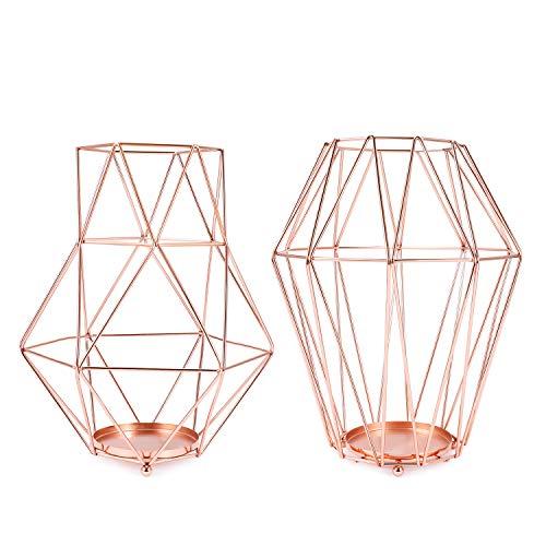 Flexzion Minimalist Geometric Copper Metal Wire Pillar Tea Light Candle Holder Set of 2 - Modern 3D Decorative Handmade Lantern for Rose Flower Table Centerpiece Ornament Wedding Home Decor, Copper