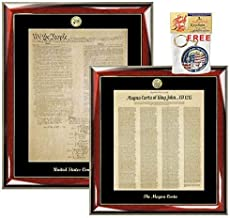 Constitution Poster and Magna Carta Replica Translated in English King John Print Frame Logo Embossed Passing Bar Legal Attorney Graduation Lawyer Gift Law Office Set Law Profession Retirement
