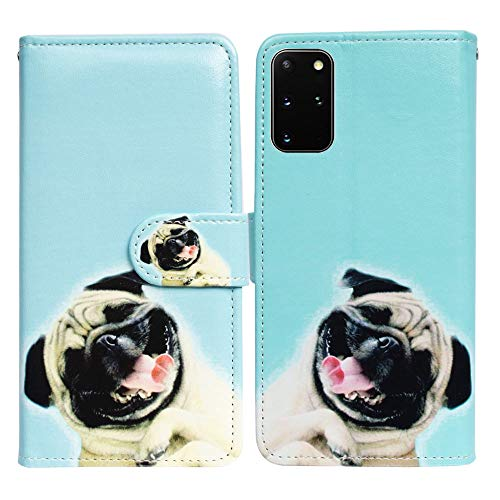 Samsung Galaxy S20 Plus Case,Bcov Funny Pug Dog Leather Flip Phone Case Wallet Cover with Card Slot Holder Kickstand for Samsung Galaxy S20 Plus / S20+