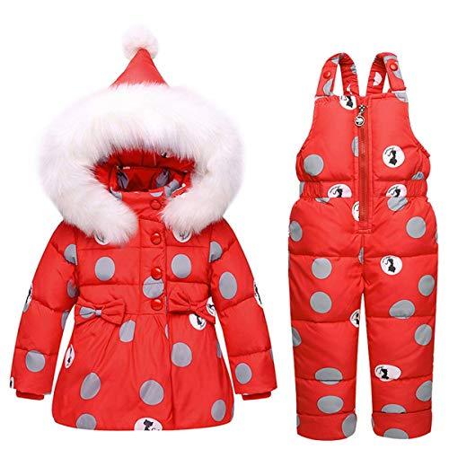 SANMIO Kinder Schneeanzug 2tlg Mädchen Jungen Daunenjacke mit Künstliches Fell Kaputze und Daunenhose Bekleidungsset (Rot, 100)