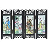 Amosfun Chineseroom Divider Screen 10 Panel Chinese dividers Screens Divider Small Decorations- Style Retro Folding Small Screen Resin Panel- Screen Room Divider (Four Great Beauties)