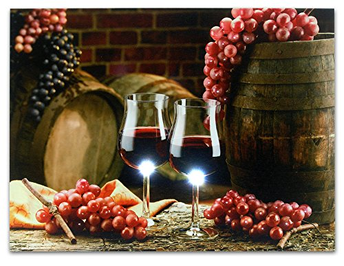 Grape Kitchen Decor - Wall Art with LED Lights - Canvas Print - 2 Wine Glasses with Grapes and Barrels Picture - Wine Barrels