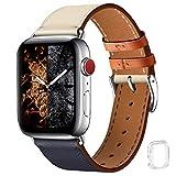 WFEAGL コンパチブル Apple Watch バンド,は本革レザーを使い、iWatch SE、 Series 6/5/4/3/2/1、Sport、Edition向けのバンド交換ストラップです コンパチブル アップルウォッチ バンド (42mm 44mm, ダークブルーのアイボリー バンド+シルバー 四角い バックル)