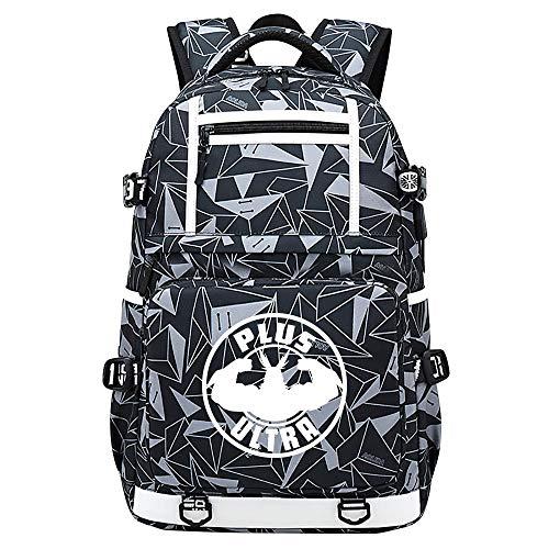 XYUANG My Hero Academia deku/All·Might USB Anime Zaini Casual backpack Daypack per bambini portatili zaino-A
