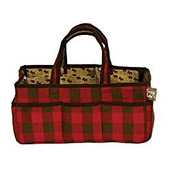 buffalo plaid christmas decor tote