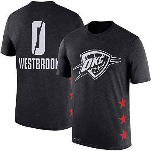 Camiseta de NBA Oklahoma City Thunder Cómoda Abanico de Baloncesto Superior Pecho Estampado Hombre Joven Medio Manga, XXL